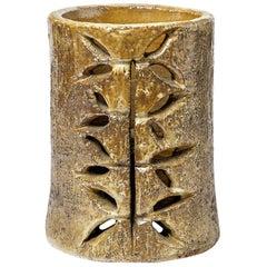 Midcentury Stoneware Golden Ceramic Table Lamp by Huguette Bessone Vallauris