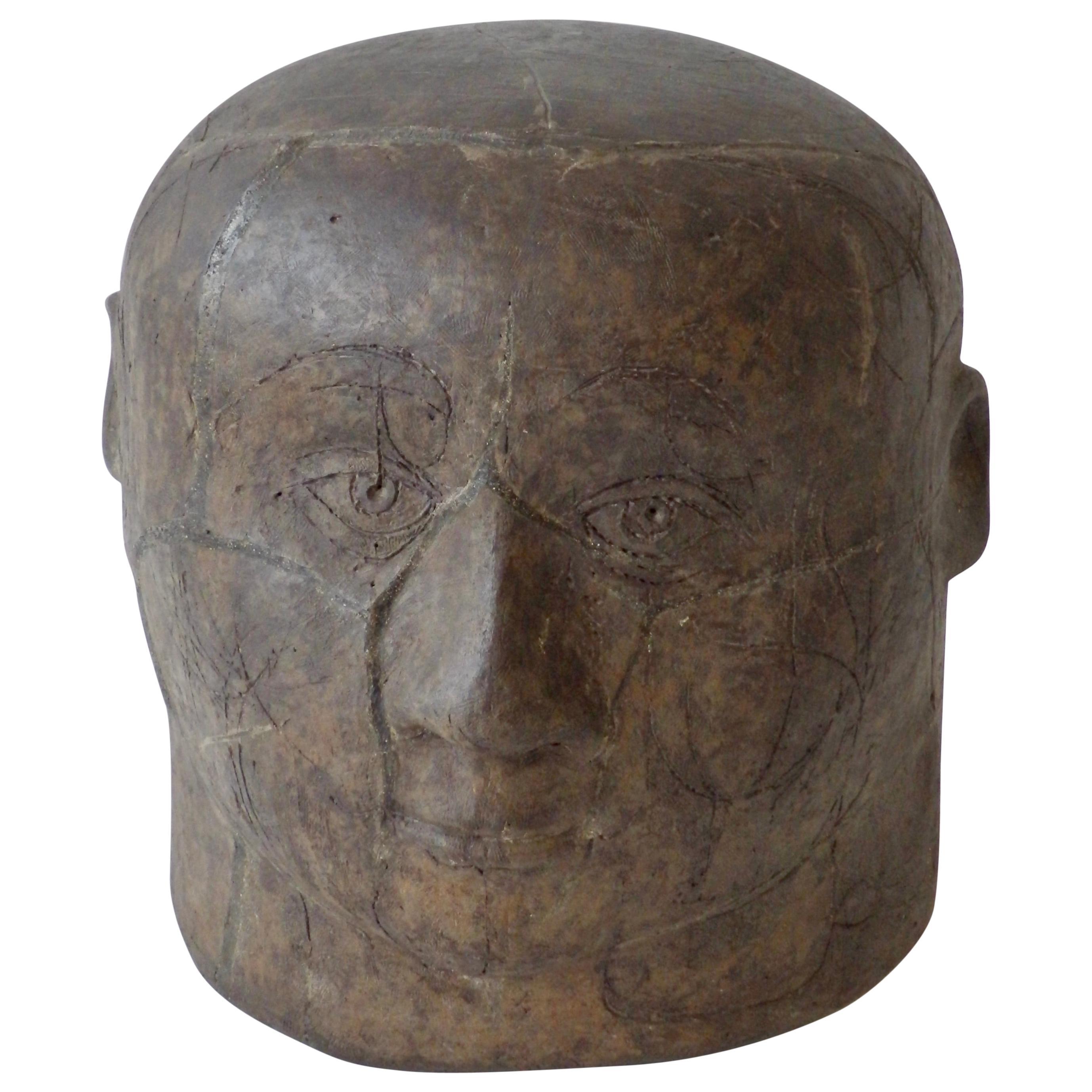 Midcentury Stoneware Outsider Folk Art Male Bust Signed O.M. 58