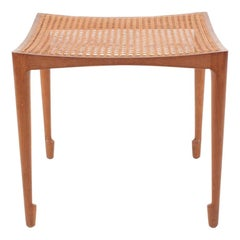 Midcentury Stool in Patinated Oak and Cane by Bernt, 1950s