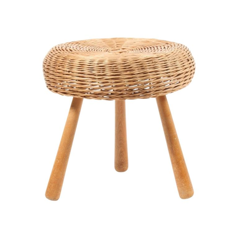 Midcentury Stool with Cane Seat, Made in Denmark