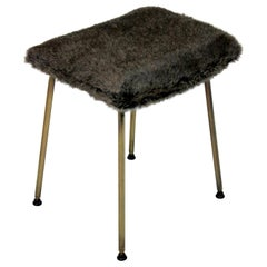 Midcentury Stool with Fur Seat