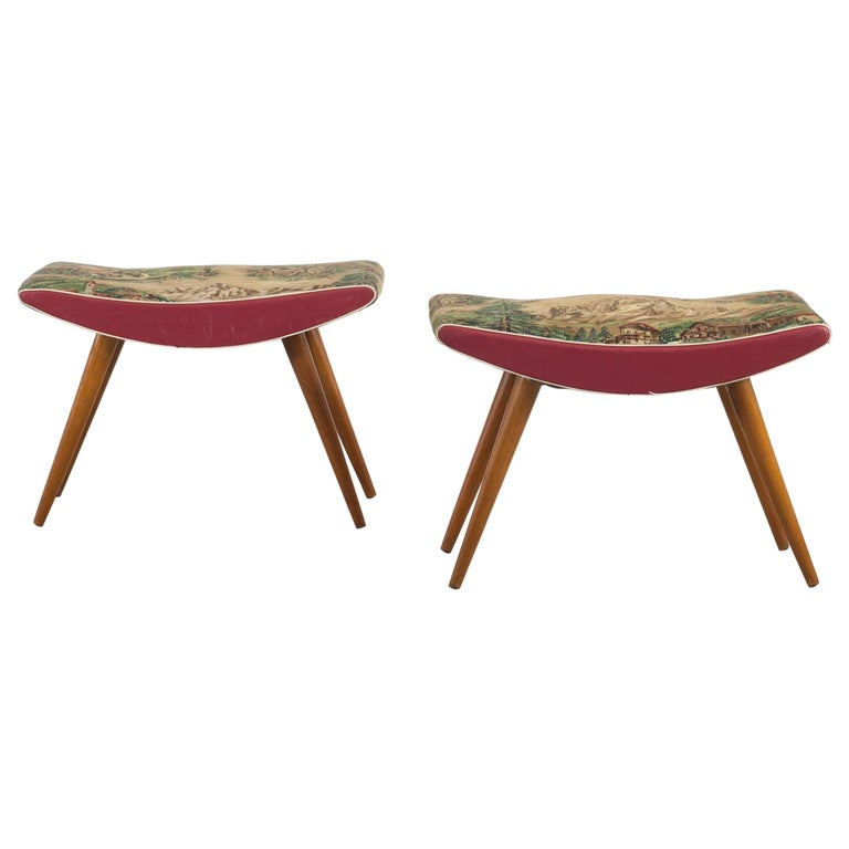 Fabulous Italian Wooden Stools With Chintz Covering With Forest Bralicious Painted Fabric Chair Ideas Braliciousco