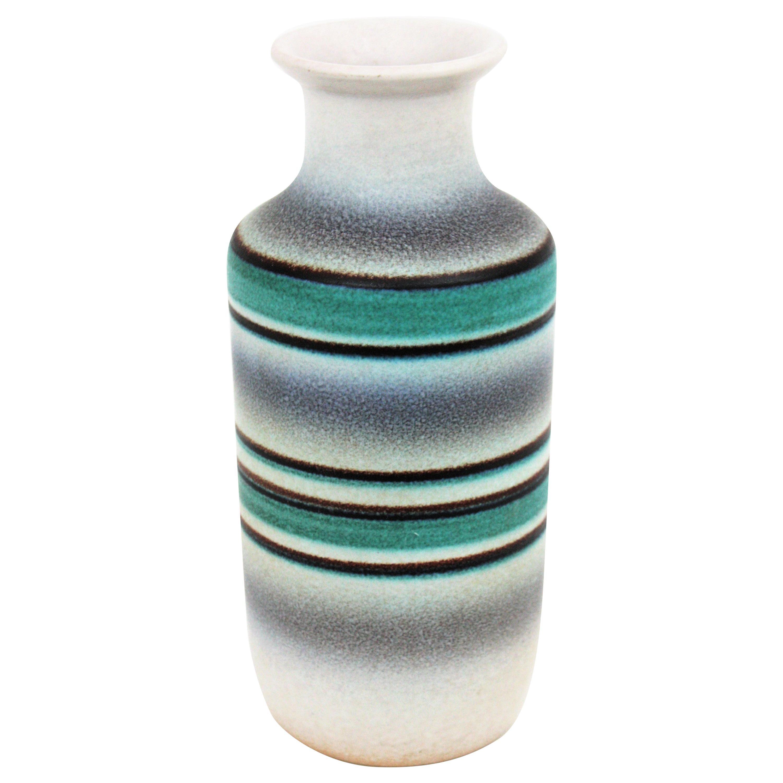 Midcentury Green, White and Black Striped Ceramic Vase by Serra, 1960s
