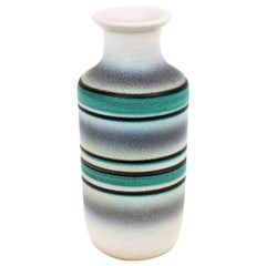Midcentury Green, White and Black Striped Ceramic Vase by Serra, 1960s