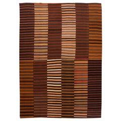 Midcentury Striped Flat-Weave Handmade Brown Wool Rug