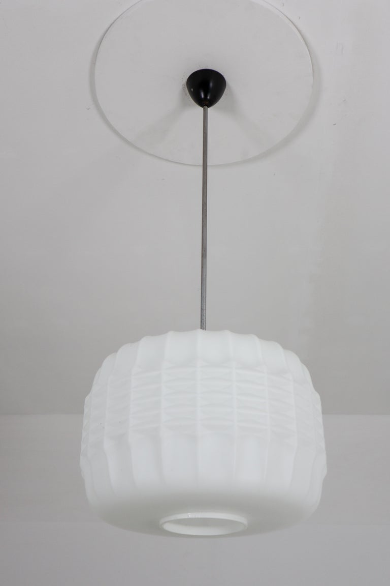 Midcentury Structured Opaline Glass Pendant, Europe 1960s For Sale 1