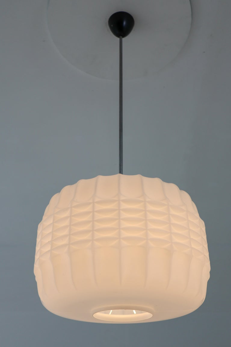 Midcentury Structured Opaline Glass Pendant, Europe 1960s For Sale 3