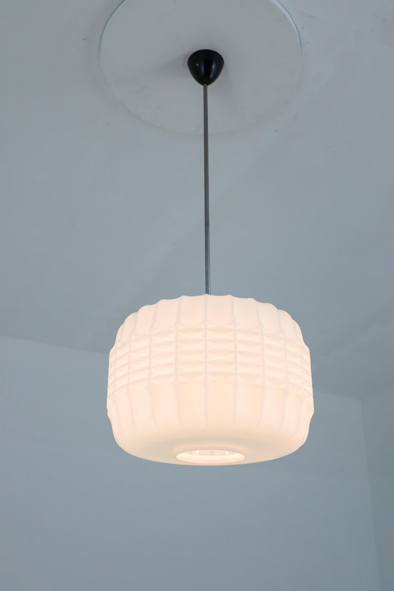 Midcentury Structured Opaline Glass Pendant, Europe 1960s For Sale 4