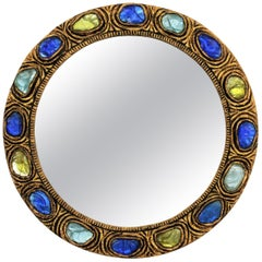 Midcentury Stucco Round Mirror with Klein Blue, Green & Turquoise Rock Crystals