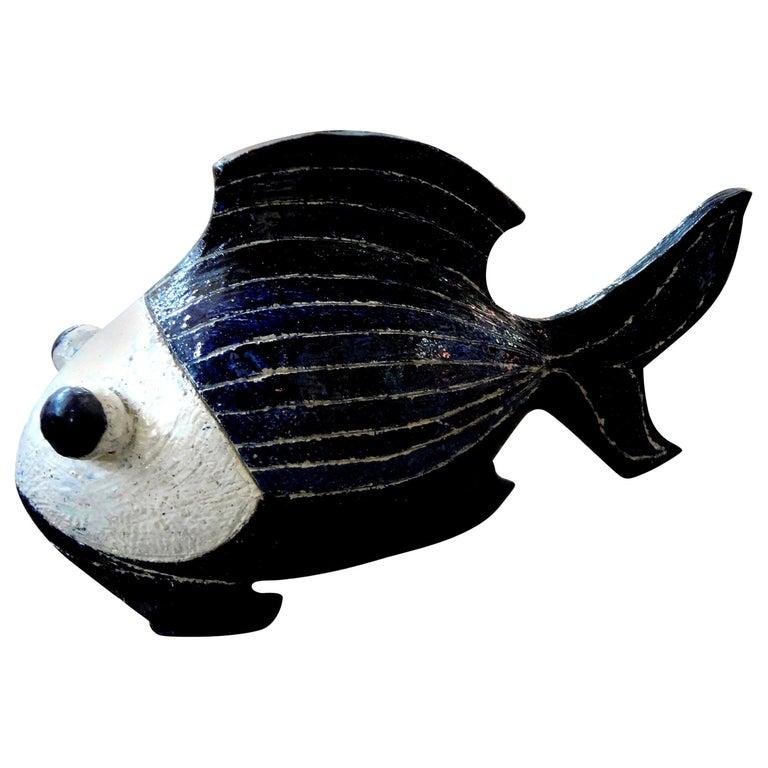 Midcentury Studio Art Pottery Fish Sculpture For Sale