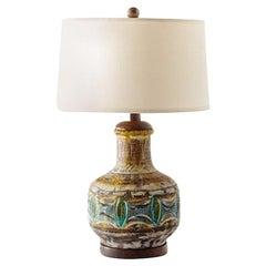 Midcentury Studio Pottery Glazed Ceramic Lamp with Turned Walnut Accents