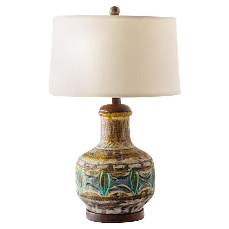 Midcentury Studio Pottery Glazed Ceramic Lamp with Turned Walnut Accents For Sale