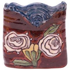Midcentury Studio Terracotta Floral Vase Signed