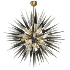 Midcentury Style 2000 Murano Glass Clear Mink Black Punta Sputnik Ceiling Light