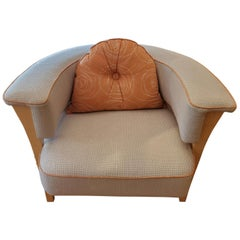 Midcentury Style Armchair with Natural Linen and Orange Piping