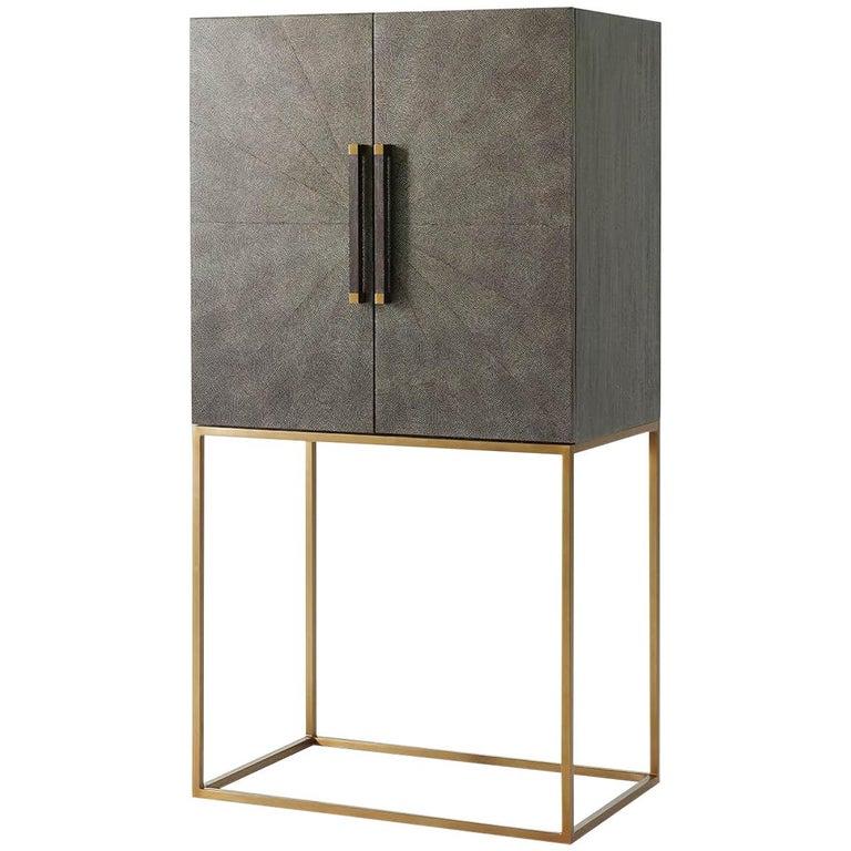 Midcentury Style Bar Cabinet, Dark For Sale