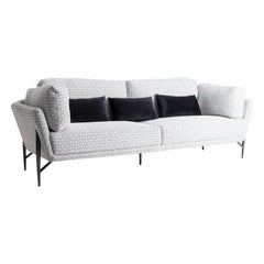 Midcentury Style Black and White Velvet Design Sofa
