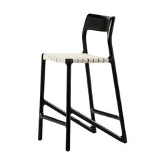 Midcentury Style Black Lacquered Wooden and White Canvas Counter Stool