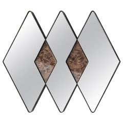 Midcentury Style, Blaze Mirror in Chromed Steel and Wood, Made in Italy
