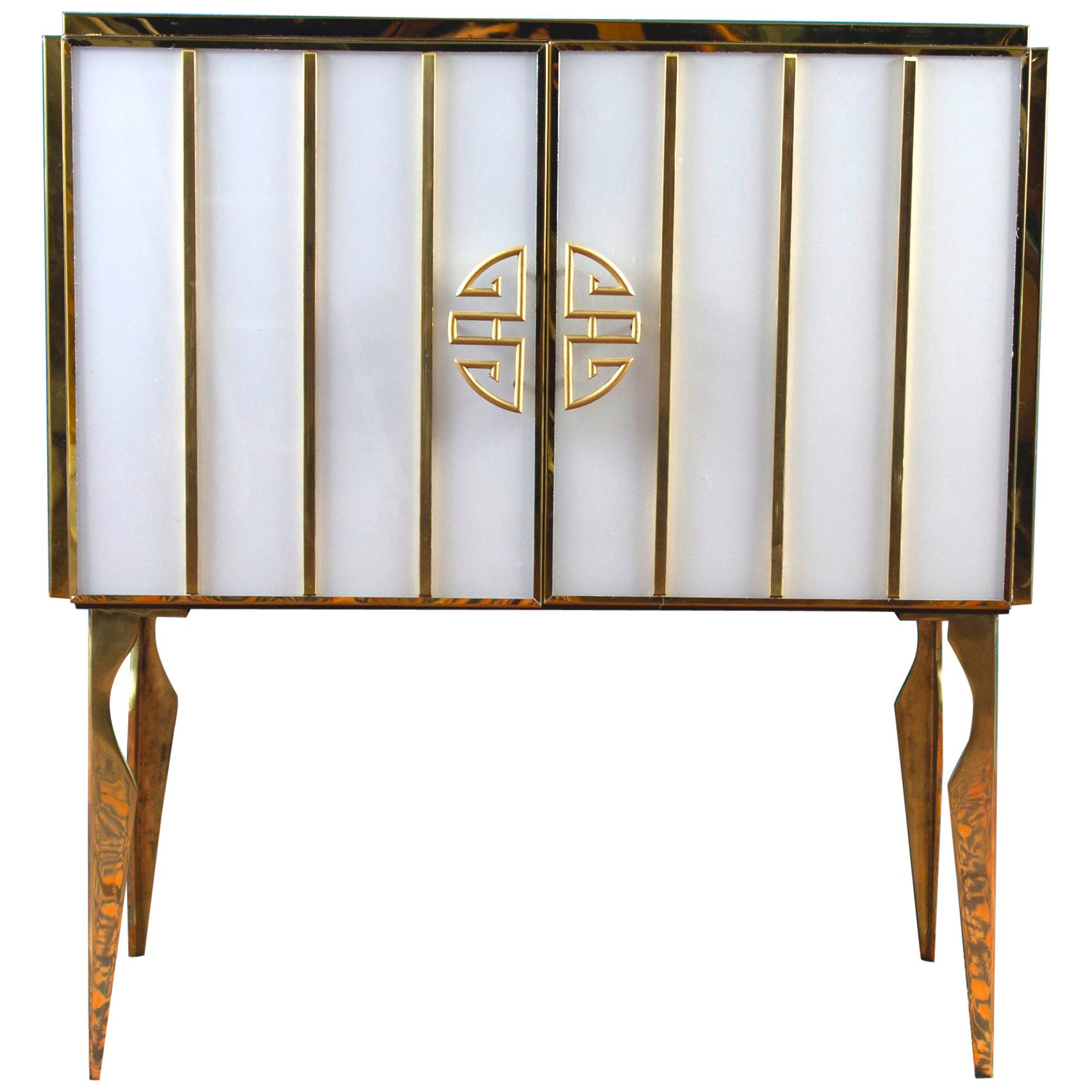 Midcentury Style Brass and Colored Murano Glass Bar Cabinet, 2020