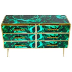 Midcentury Style Brass and Malachite Colored Murano Glass Commode, 2020
