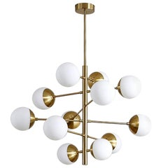 Midcentury Style Brass and Opaline Globes Italian Radial Chandelier