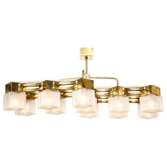 Custom Midcentury Style Brass and White Murano Square Glass Chandelier, Italy