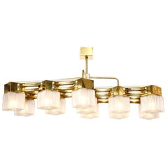 Midcentury Style Brass and White Murano Square Glass Chandelier, Italy