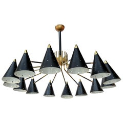 Midcentury Style Brass Chandelier with Black Perforated Shades