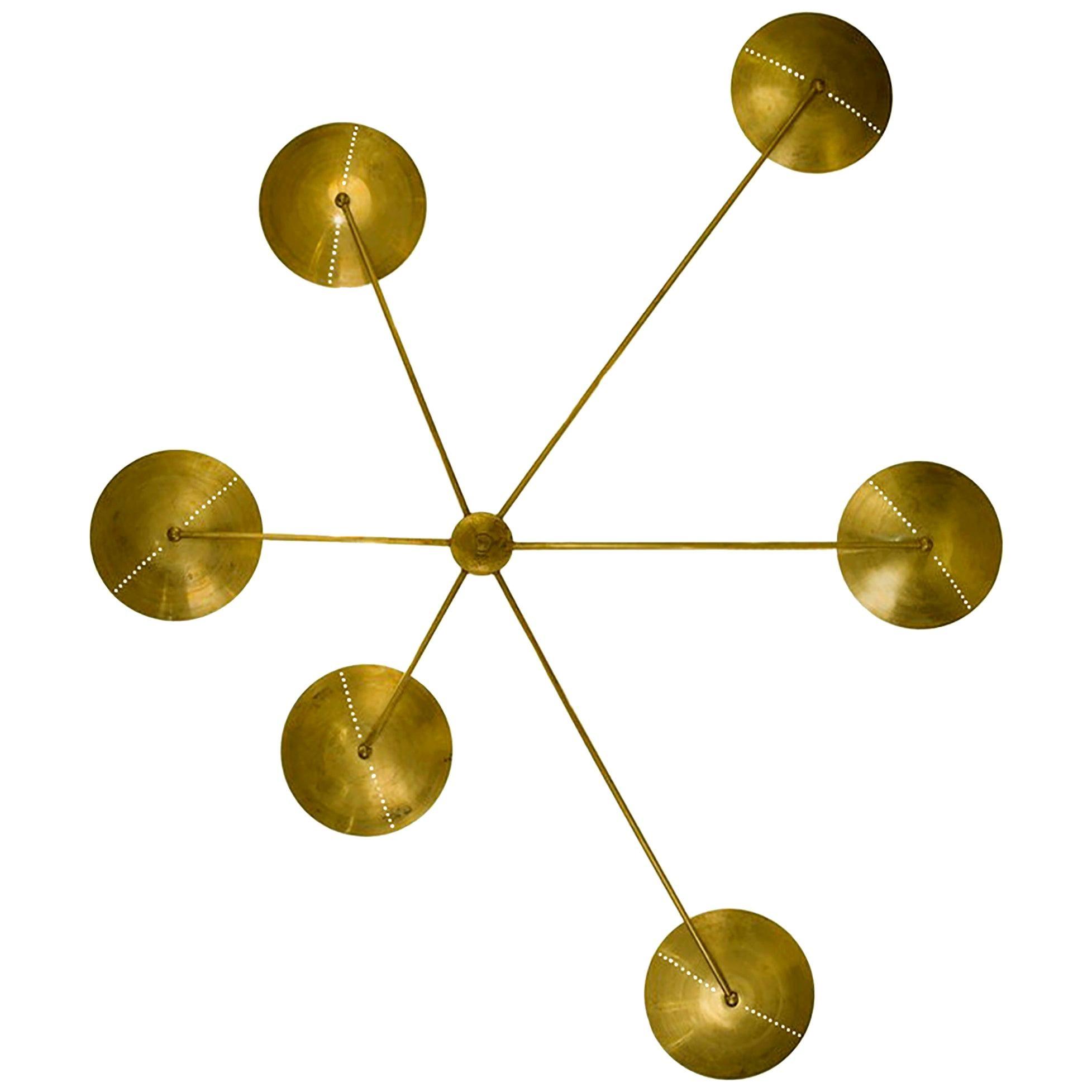 Mid-Century Style Brass Italian Spider Wall Light or Flush Mount