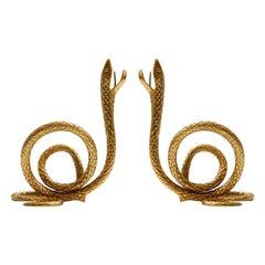 Midcentury Style Bronze Italian Pair of Candelabra