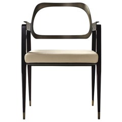 Midcentury Style, Carlton chair in Walnut Wood, Real Leather and Burnished Brass