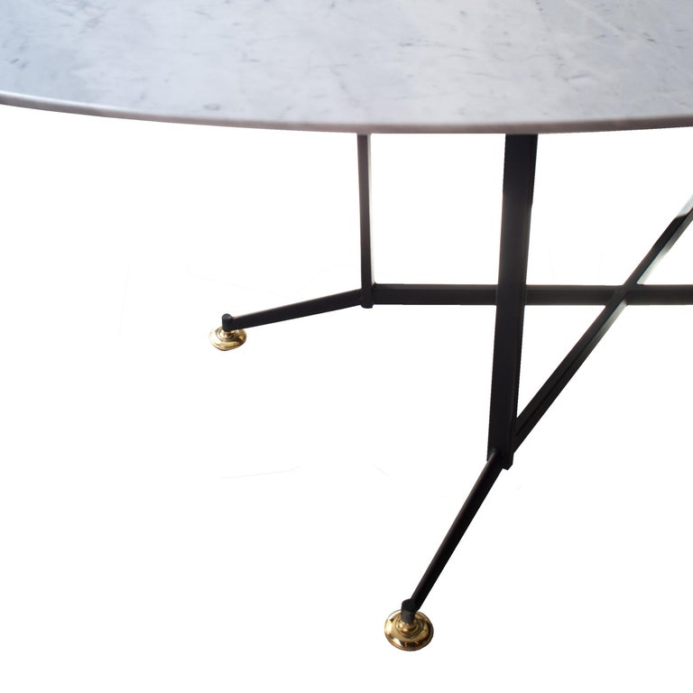 Mid-Century Modern Midcentury Style Carrara Marble Oval Dining Table, Italy, 1950 For Sale