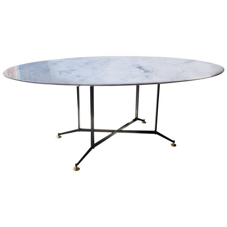 Midcentury Style Carrara Marble Oval Dining Table, Italy, 1950 For Sale