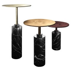 Midcentury Style, Claridge Coffee Table, in Marble and Metal Tops, Made in Italy