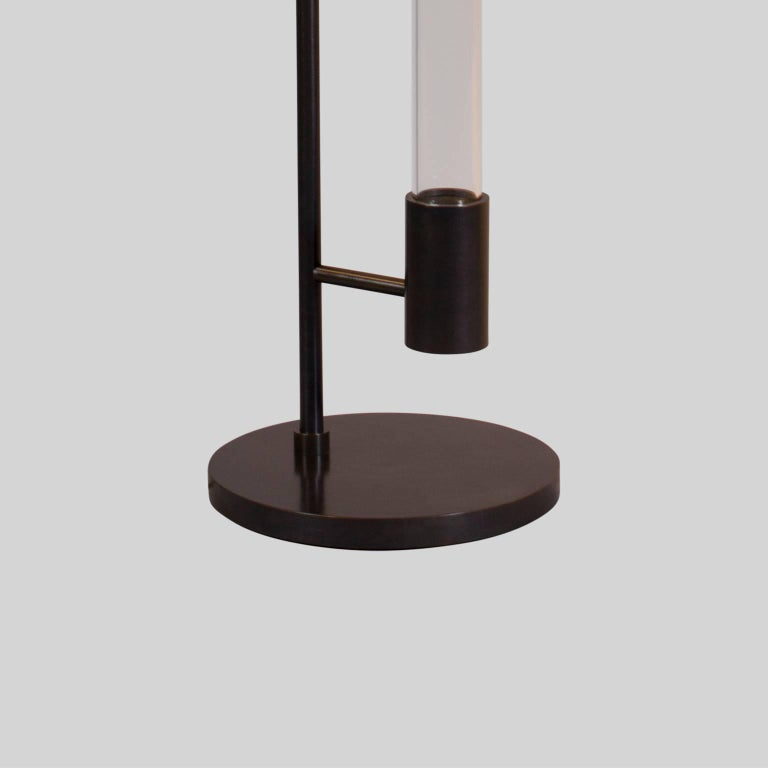 Patinated Mid-century Style Floor Lamp in Oil Rubbed Bronze by Carbonell Design For Sale