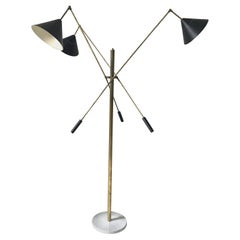 Midcentury Style Floor Lamp with Brass Frame and Marble Base