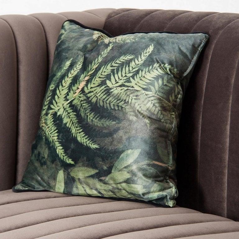 European Midcentury Style Gilded Metal and Velvet Design Sofa For Sale