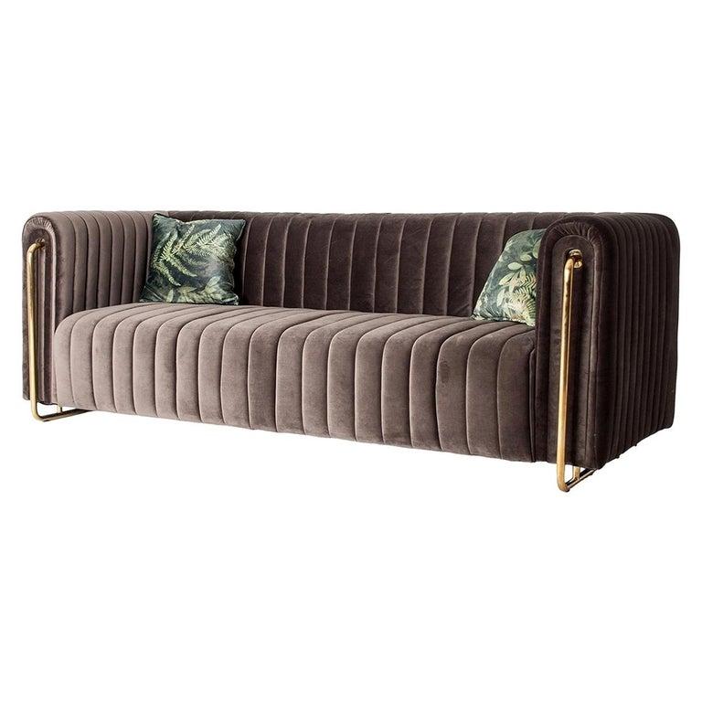 Midcentury Style Gilded Metal and Velvet Design Sofa For Sale