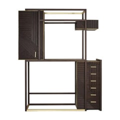 Midcentury Style, Hampton Cabinet in Oakwood, Sanded and Painted, Made in Italy