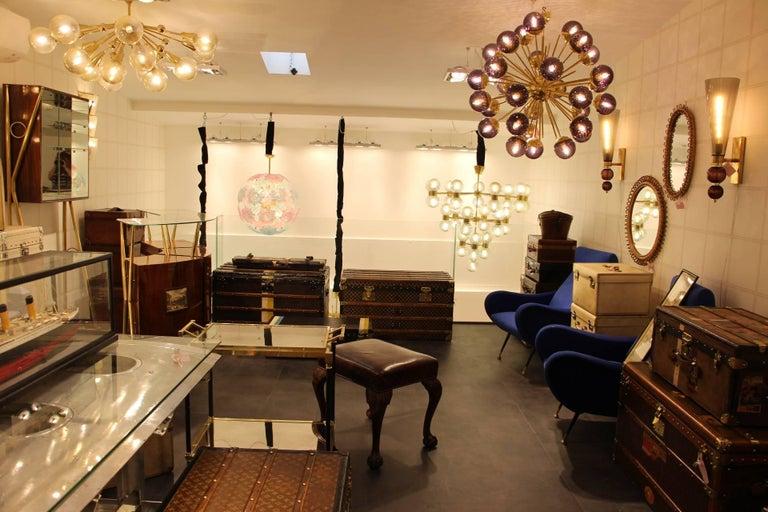 Midcentury Style Italian Sputnik Brass and Purple Murano Chandelier For Sale 6