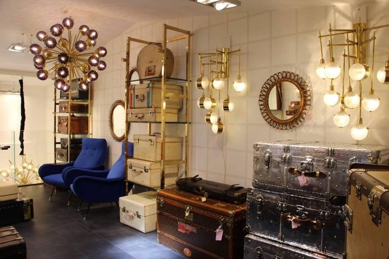 Midcentury Style Italian Sputnik Brass and Purple Murano Chandelier For Sale 8