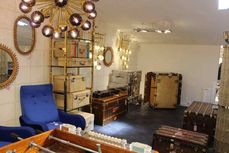 Midcentury Style Italian Sputnik Brass and Purple Murano Chandelier For Sale 9