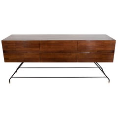 Midcentury Style Lacquered Mahogany Console