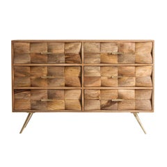 Midcentury Style Large Elm Wooden Chest of Drawers