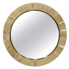 Midcentury Style Made of Brass and Pink Quartz Circular Italian Mirror
