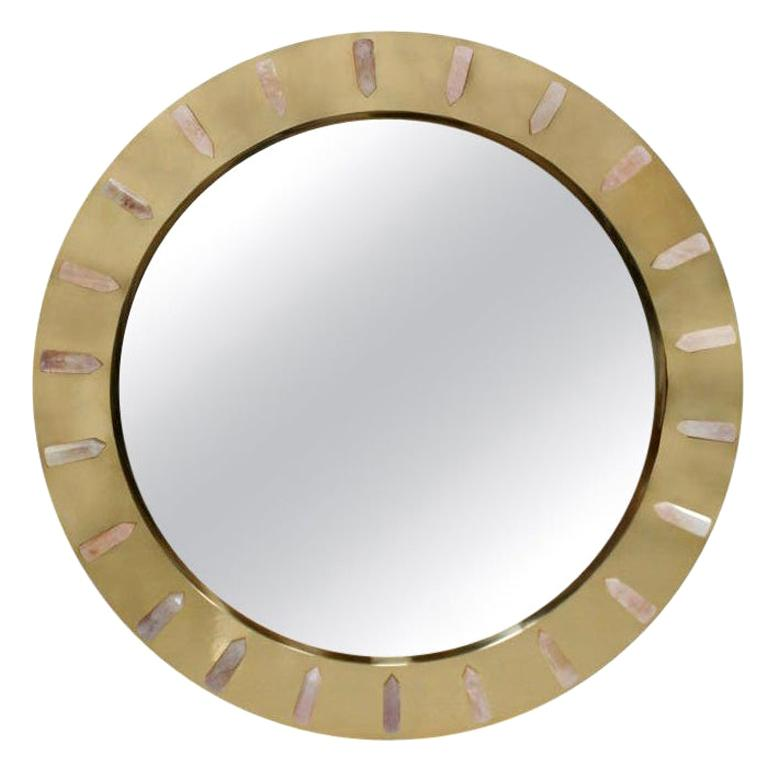 Midcentury Style Made of Brass and Pink Quartz Circular Italian Mirror For Sale
