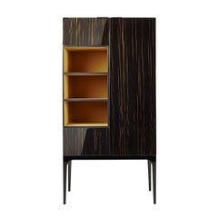 Midcentury Style, Madison Cabinet, with Ebony and Nickel, Made in Italy