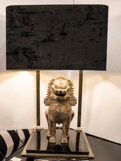 Midcentury Bronze Lion of Foo Tablelamp, France, 1970