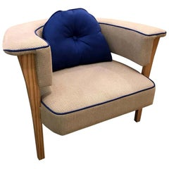 Midcentury Style Natural Linen and Blue Piping Armchairs with Reversible Pillow